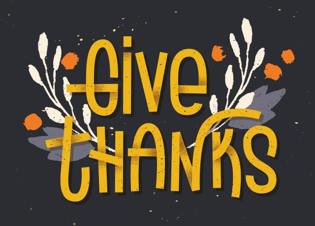 Give thanks lettering. Letterpress inspired greeting card with c